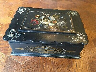 Victorian English MOP Painted Box Papier Mache Black Lacquer Charles Faudree