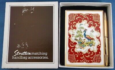 Vintage Stratton Notecase Notepad Pen Enamel Exotic Birds Handbag Boxed Unused