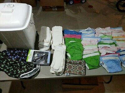 25+ cloth diaper lot, bumgenius, liners, sprayer, diaper bin! Accepting offers!