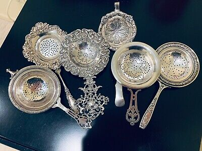 LOT (6) of ANTIQUE SILVER TEA STRAINERS, 212 GRAMS