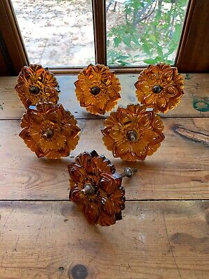 6 Amber Glass Curtain Tie-backs
