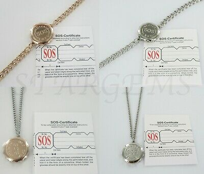 TOP QUALITY SOS MEDICAL INFO NECKLACE//STAINLESS STEEL LADIES//MEN//TALISMAN AJMB