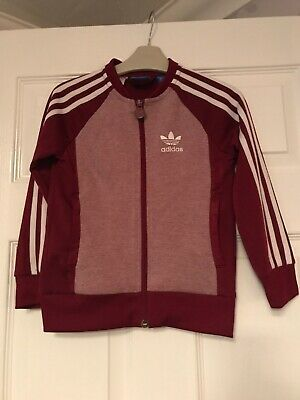 Adidas Original Burgundy Red Zip Up Jacket/tracky Top Age 5-6 Years Vgc