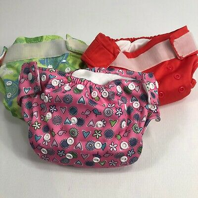 One Size Cloth Diaper By Bumkins AIO All In One Lot Of 3