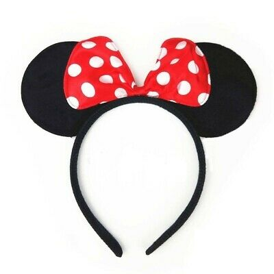 12pc Mickey Minnie Mouse Ears Headband Black//Red//Pink Bow Party Favors Costume