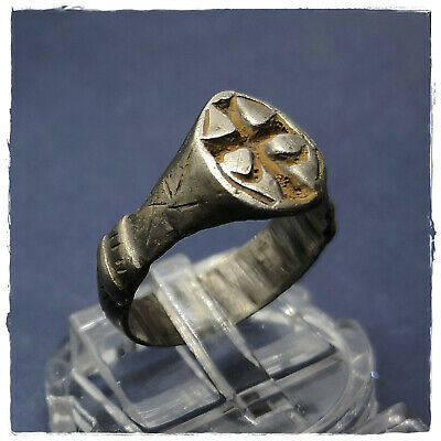 ** CROSS ** ancient SILVER  BYZANTINE or MEDIEVAL RING ! 4,92g