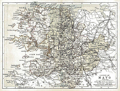 An enlarged 1897 map of County Mayo,  Ireland.