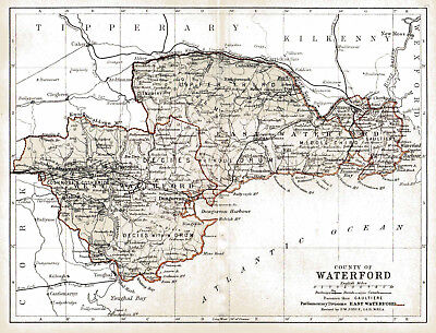 An enlarged 1897 map of County Waterford,  Ireland.