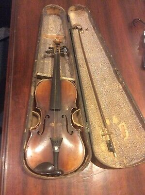 Old Violin With Case And Bow
