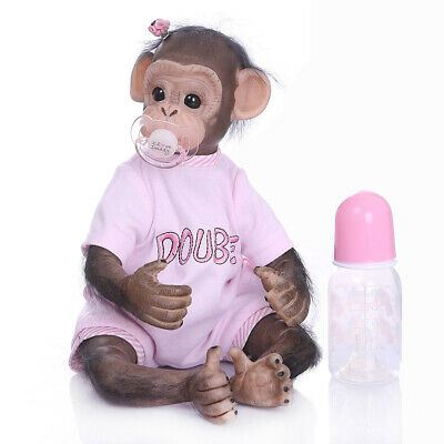 "16"" Lifelike Soft Silicone Vinyl Reborn Newborn Baby Monkey Girl Doll Toy Gift"