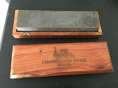 Knife Sharpening Stone, VINTAGE Made In USA Crystolon Combination Oil/Water