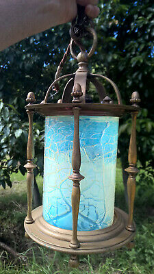 Antique Brass Bronze Victorian Opalescent Lamp Glass Shade Lantern