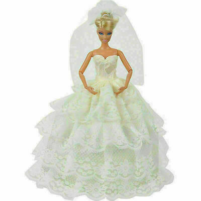 Handmade White Princess Wedding Party Dress Gown With C5W1 For 29cm Doll Be Z8K0