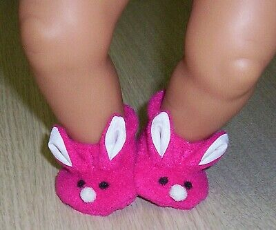 "BABY BORN BUNNY SLIPPERS 16/ 17"" 43cm DOLLS Shoes Clothes Booties 5.6cm 2.25"""