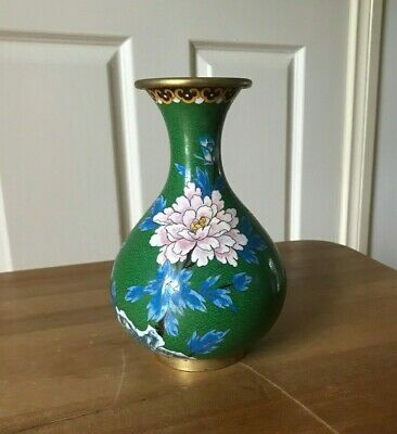 A Beautiful Chinese Cloisonne Flower / Bird Vase In Brass Base Mid 20th century