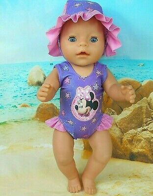 """Dolls clothes for 17"""" Baby Born Doll~MINNIE MOUSE PURPLE STARS~ SWIMMING COSTUME"""