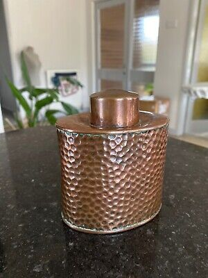 Antique Tea Caddy Hammered Copper Arts & Crafts  English Joseph Sankey & Sons