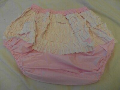 "Adult Baby Pink Frilly Plastic Pants Size L Large, 25""-31"" Waist Approx"