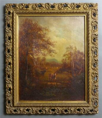 """19th Century Landscape with Cows, Oil on Canvas, from, """"Near Conway, NH"""", No sig"""