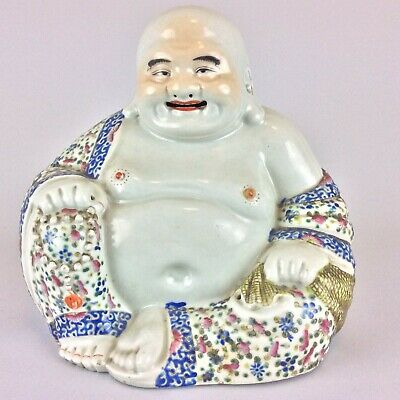 Large Antique Vintage Chinese Porcelain Famille Rose Buddha Statue Figure