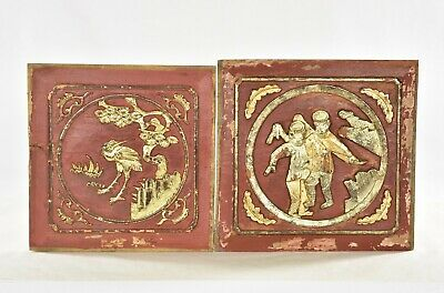 Two Antique Chinese Red & Gilded Wooden Carved Panel, 19th c