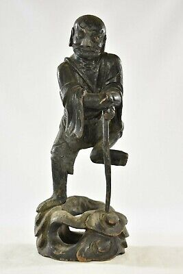 Antique Chinese Black Wooden Carved Statue / Figure, 19th c