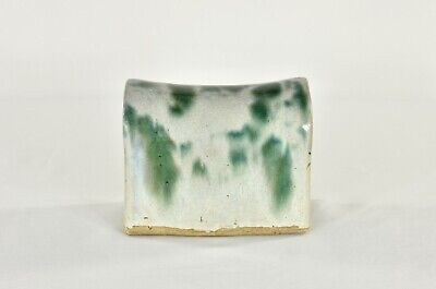 Antique Chinese Green & White Ceramic / Pottery Pillow