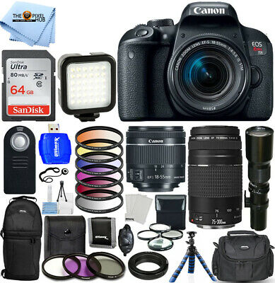 Canon EOS Rebel T7i DSLR with 18-55mm + 75-300mm + 500mm Top Value 64GB Bundle
