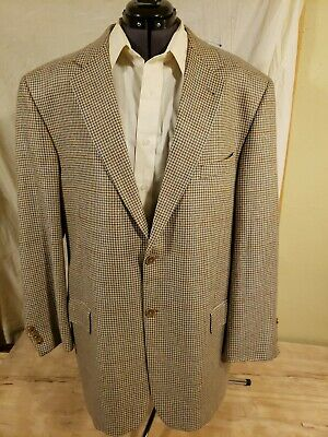 Mens Sportjacket Coat 2 Button 44L Houndstooth Silk Wool Linen Lined Usa