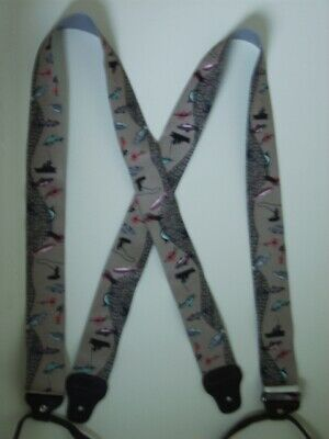 """1 1//2/""""-2/""""Y Style MEN/'S Suspenders FISH With Net, Made in USA Snaps Button-ON"""