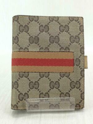 Auth GUCCI Loose-Leaf Notebook Cover Small Canvas Monogramm Brown used