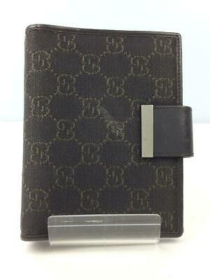 Auth GUCCI Loose-Leaf Notebook Cover Small Cotton Brown used