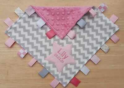 Taggy Blanket 30 Cm Square Personalised Large Baby Pink  Chevron Taggy