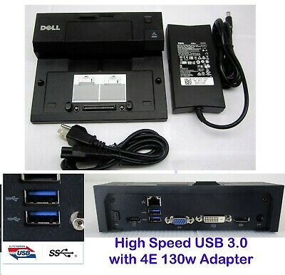 NEW Dell E-Port PR03x Replicator Docking Station USB 3.0 with 130W AC Adapter