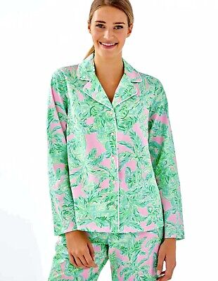 Lilly Pulitzer NWT L/S Ruffle Pajama Button Up Top Pink Sand Paradise $68 Size M