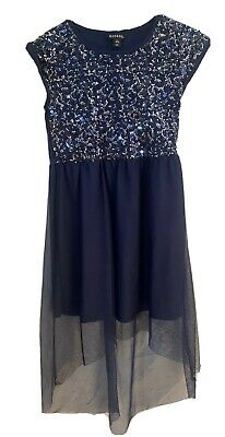 George Girls Fancy Sparkly Navy Blue Birthday Event Dress Size Large 10/12