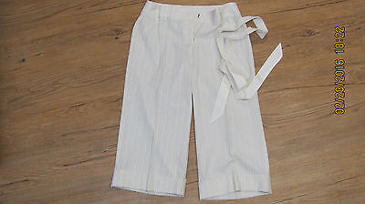 XOXO Women's Dress Cuffed Capri Pants 7/8 White W/Tan Pinstripes Sash Tie Belt