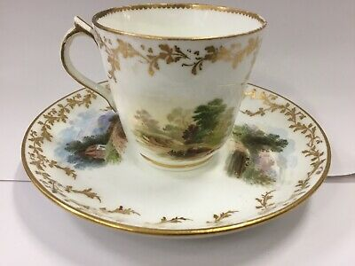 Antique 18Th Century Tea Cup & Saucer Minton Hand Painted A4989