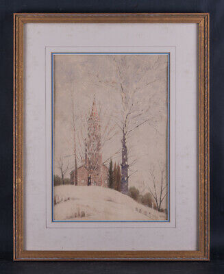 """Early 20th Century Impressionist Watercolor """"Church In Snow"""" Signed"""