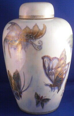 Antique Wedgwood English Butterfly Luster Porcelain Vase & Lid England Porzellan