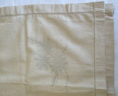Vintage Linen Supper Cloth With Floral Motif To Embroider