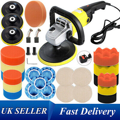 "1200W 7"" Car Polisher Buffer Polishing Machine M-14 Sponge Pads 7-8"" Bonnets Kit"
