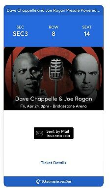 Joe Rogan & Dave Chappelle @ Bridgestone Arena 4/24 Sec3 Row 8 Seat 14 + Parking