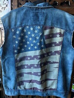"Mens denim vest size XXL.From USA.American flag on the back.""Ring of Fire"" brand"