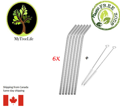 6 reusable metal straws stainless steel ecofriendly  with 2 cleaning brushs