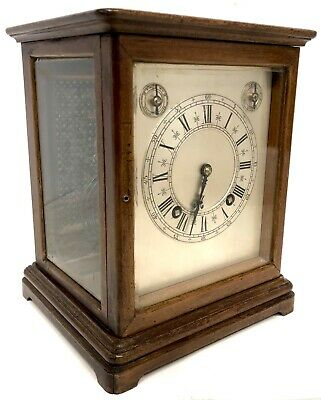Lovely Antique Winterhalder & Hofmeier Four Glass Library Clock