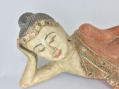 Large Antique Vintage Chinese  Buddha Statue Figure Carved Wood Spiritual