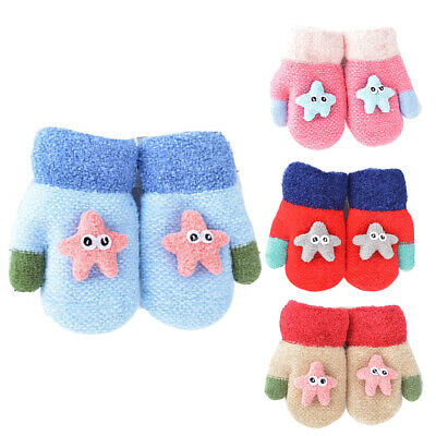 BU_ BH_ GI- DV_ Cute Kids Cartoon Starfish Plush Mittens Elastic Outdoor Winter