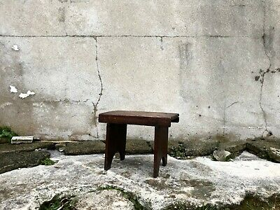 Antique Victorian Welsh Wooden Country Farmhouse Stool
