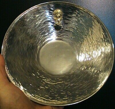 VTG HAND HAMMERED STERLING BOWL WITH 18K Gold TUMI ICON MADE IN PERU BY VASCO